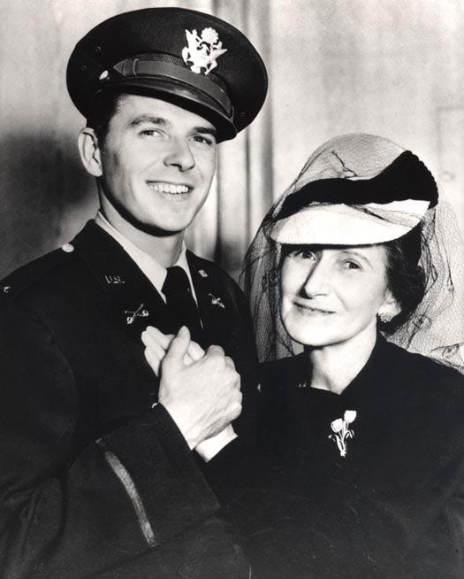 Ronald Reagan in his Army uniform with his mother Nelle in the 1940s