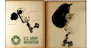The 1960s-era Army Emergency Respirator functions as a fluidic pressure-cycled respirator that doesn't require any moving parts to operate.