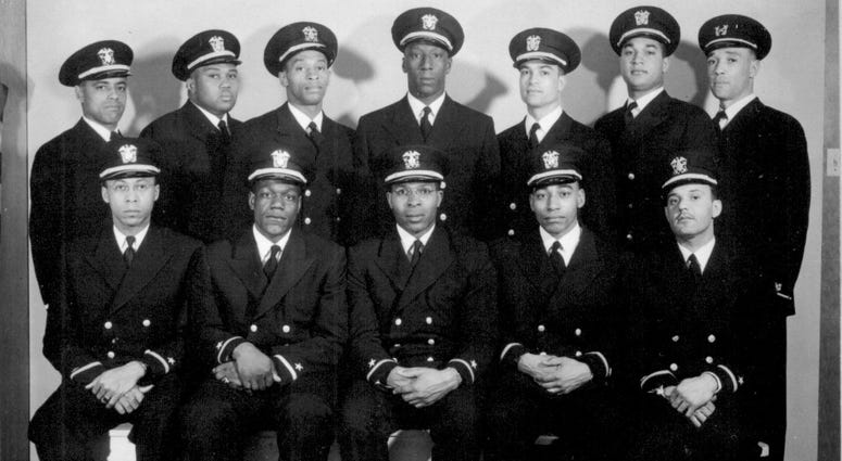 Ensigns George Clinton Cooper, Graham Edward Martin, Jesse Walter Arbor, John Walter Reagan, Reginald Ernest Goodwin. Back row, left to right, Ensigns Phillip George Barnes, Samuel Edward Barnes, Dalton Louis Baugh, James Edward Hare, Frank Ellis Sublett,