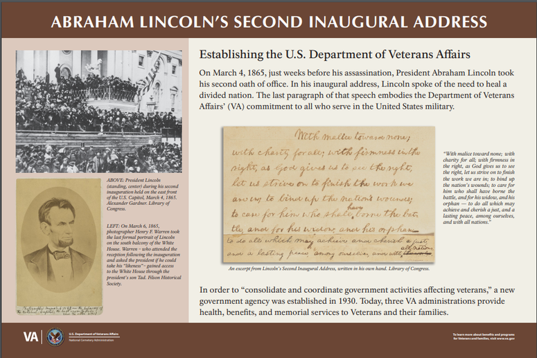 The interpretive sign VA plans to install at all national veterans cemeteries explaining how a Lincoln quote because the department's motto.