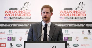 Prince Harry speaks at the Mandarin Orienta in London, where he became a patron of 'Walk Of America' as he launches the latest expedition from the armed forces charity Walking With The Wounded.