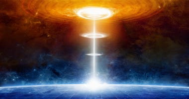 Glowing extraterrestrial aliens spaceship hits blue planet in deep space, space war. Elements of this image furnished by NASA