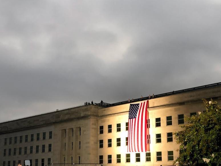 Unfurled flag at Pentagon