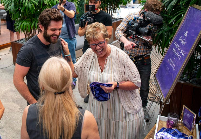Crown Royal The Purple Bag Project partners Thomas Rhett and Packages From Home, Mothers Of Military