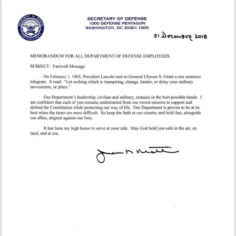 Secretary of Defense James Mattis issues farewell letter ...