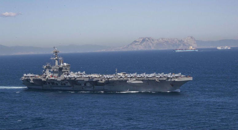 U.S. deploys aircraft carrier after credible intelligence that Iranian forces were targeting American forces.