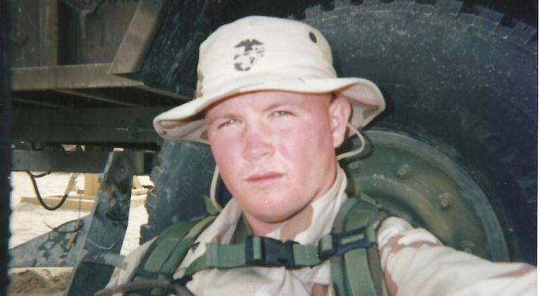 USMC Iraq vet Tim Wynn during a deployment to Iraq