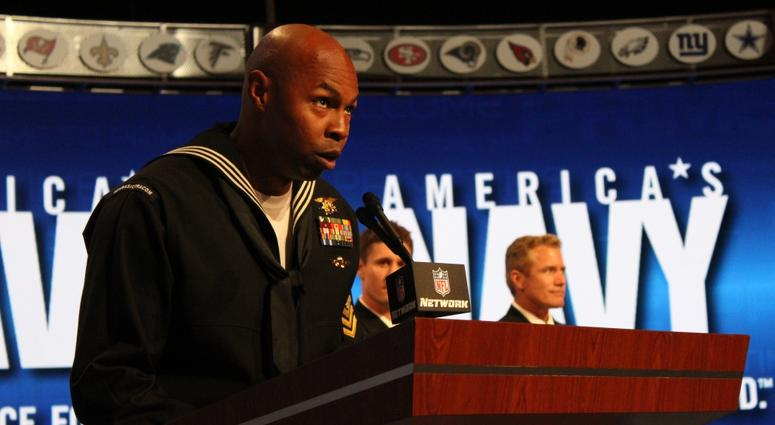 Special Operator 1st Class (SEAL) Floyd Mclendon announces the 84th overall selection in the Third Round of the 2013 NFL Draft at Radio City Music Hall.