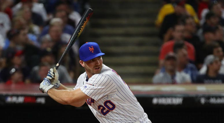 Pete Alonso of the New York Mets competes in the T-Mobile Home Run Derby at Progressive Field on July 08, 2019 in Cleveland, Ohio.
