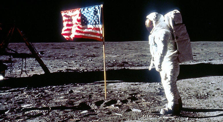 Buzz Aldrin lands on the moon.