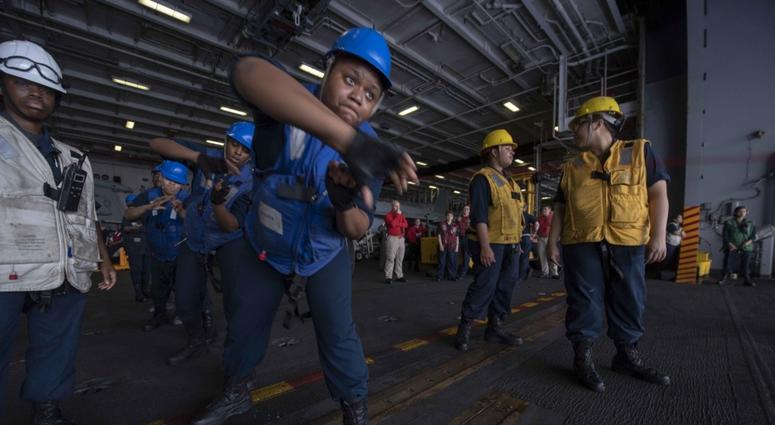 The first all-female underway replenishment (UNREP) rig team during a replenishment-at-sea (RAS)