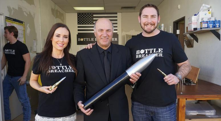 Jen and Eli Crane of Bottle Breacher with Shark Tank's Kevin O'Leary. Both O'Leary and Mark Cuban invested in the Cranes company on the hit ABC show.