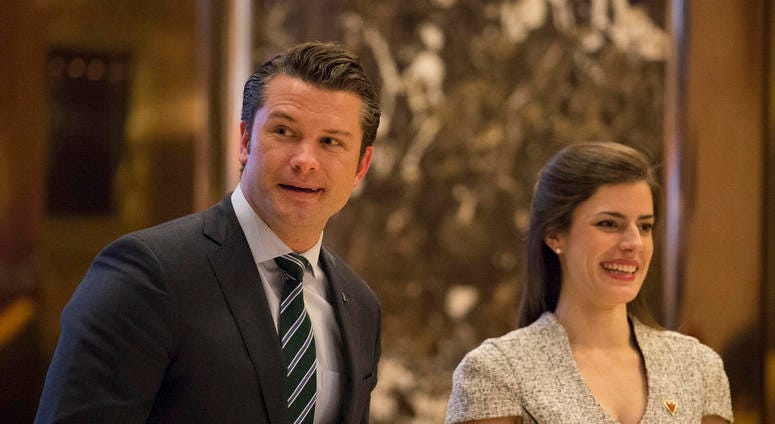 Pete Hegseth (R), a contender for the position of Veterans Affairs Secretary, is seen in the lobby of Trump Tower in New York, NY, USA upon his arrival on December 15, 2016