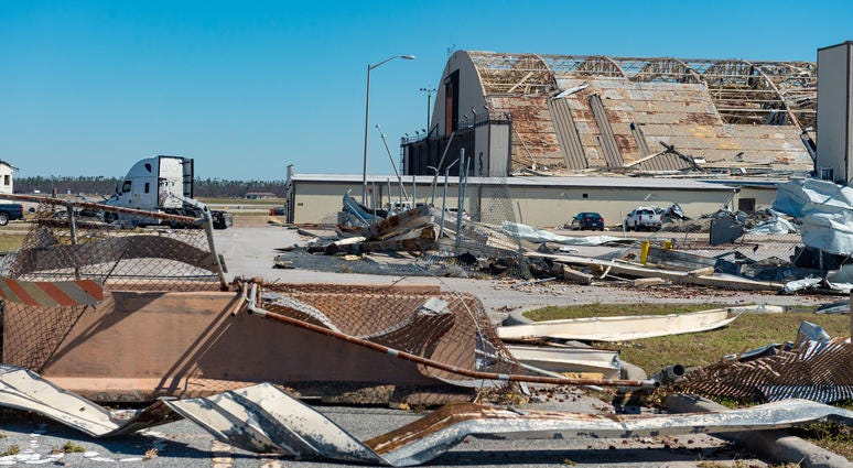 Oct 13, 2018; Panama City, FL, USA; Widespread destruction is left behind in the wake of Hurricane Michael at Tyndall Airforce Base near Panama City, FL