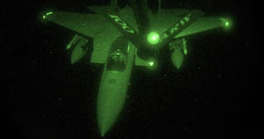 An F-15C Eagle receives fuel from a KC-135 Stratotanker, April 14, 2018 during U.S. military strikes in Syria.