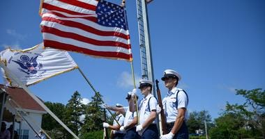 Coast Guard Base Cape Cod Honor Guard presents the colors