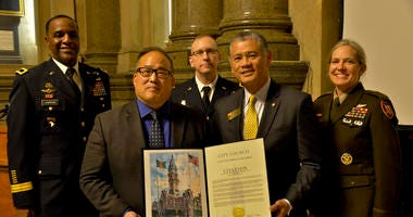 Philadelphia City Councilman David Oh presents a proclamation during the first ever U.S. Army Week-Philadelphia event.