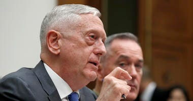 Defense Secretary Jim Mattis, left, with Joint Chiefs Chairman Gen. Joseph Dunford, testify on the FY2019 budget during a hearing of the House Armed Services Committee on Capitol Hill, Thursday, April 12, 2018 in Washington.