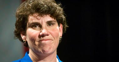 In this Nov. 6, 2018, file photo, Amy McGrath speaks to supporters in Richmond, Ky