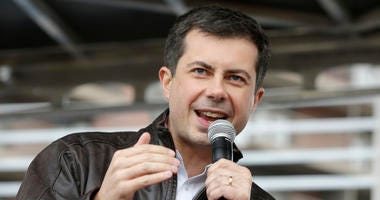 Democratic presidential candidate and South Bend Mayor Pete Buttigieg addresses supporters during a rally before participating in the Democratic Party's Liberty and Justice Celebration event in Des Moines, Iowa, Friday, Nov. 1, 2019.