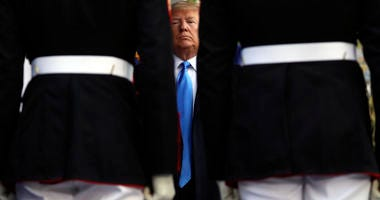 President Donald Trump attends the New York City Veterans Day Parade at Madison Square Park in New York, Monday, Nov. 11, 2019