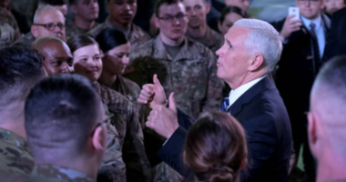 Pence talks to troops