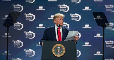 President Donald Trump shares his approval rating among farmers as he speaks at the American Farm Bureau Federation's (AFBF) annual convention.