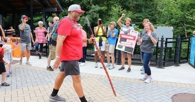 Navy vet Tom Zurhellen, a Marist College professor, completes his 2,800 mile walk from Oregon to New York