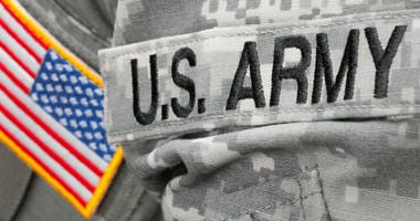 US Army and flag patch on military uniform