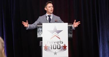 HillVets founder Justin Brown addresses the audience at the 2017 HillVets 100 awards ceremony.