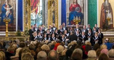 Russian concert choir performs at St. Isaac's Cathedral, St. Petersburg