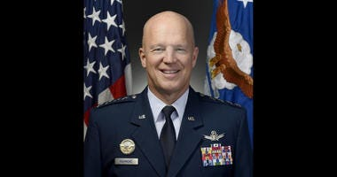 "Official portrait of Air Force Gen. John W. ""Jay"" Raymond, for his position as Air Force Space Command commander, Peterson Air Force Base, Colo., taken Oct. 14, 2016."