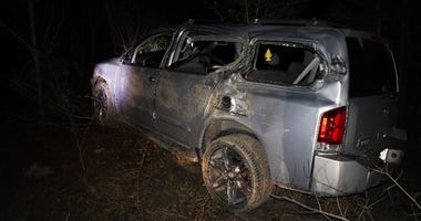 A Nissan Armada hit a tank just outside Fort Stewart on Tuesday, March 5, 2019, by accident.