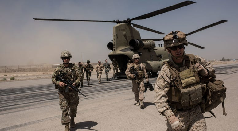 Troops arriving at Camp Boost in Helmand Province, Afghanistan