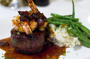 Pappas Bros. Steakhouse: 8oz Filet With Jumbo Prawns