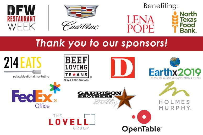 DFW Restaurant Week 2019 Sponsors