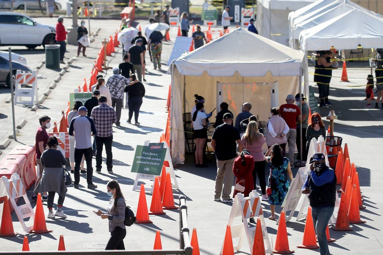 People wait in line for COVID-19 testing at Lincoln Park on the Monday after Thanksgiving weekend on November 30, 2020 in Los Angeles, California.