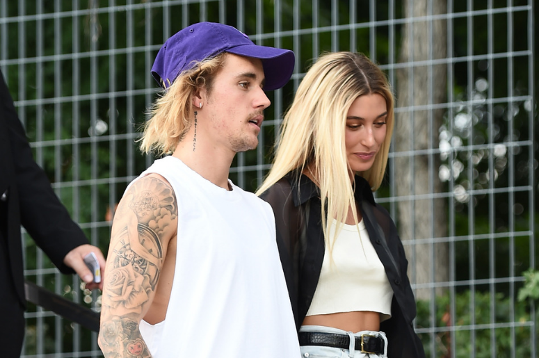 Justin Bieber and Hailey Baldwin attend the John Elliott front row during New York Fashion Week: The Shows on September 6, 2018 in New York City