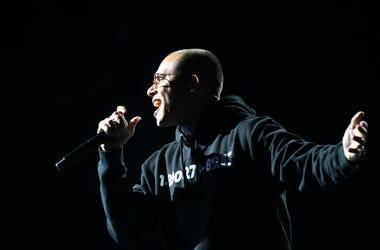 Logic performs 1-800-273-8255 during the 60th Annual Grammy Awards at Madison Square Garden.