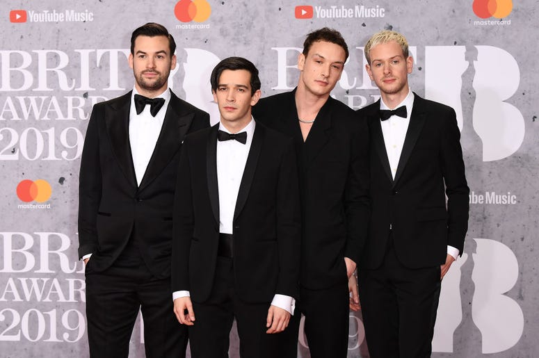 Members of 'The 1975', Matthew Healy, Ross MacDonald, George Daniel and Adam Hann attends The BRIT Awards 2019 held at The O2 Arena on February 20, 2019 in London, England