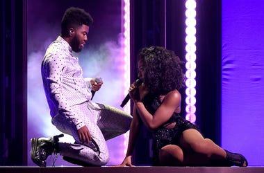 LAS VEGAS, NV - MAY 20: Khalid & Normani performs at the 2018 Billboard Music Awards at MGM Grand Garden Arena on May 20, 2018 in Las Vegas, Nevada.
