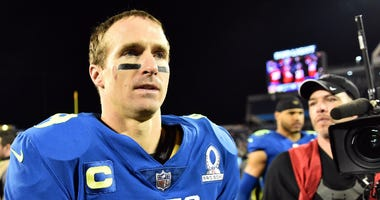 NFC quarterback Drew Brees of the New Orleans Saints (9) is seen after their game against the AFC at the 2017 Pro Bowl at Citrus Bowl.