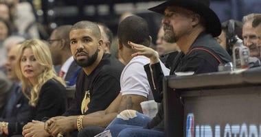 Drake courtside at Toronto Raptors NBA Game