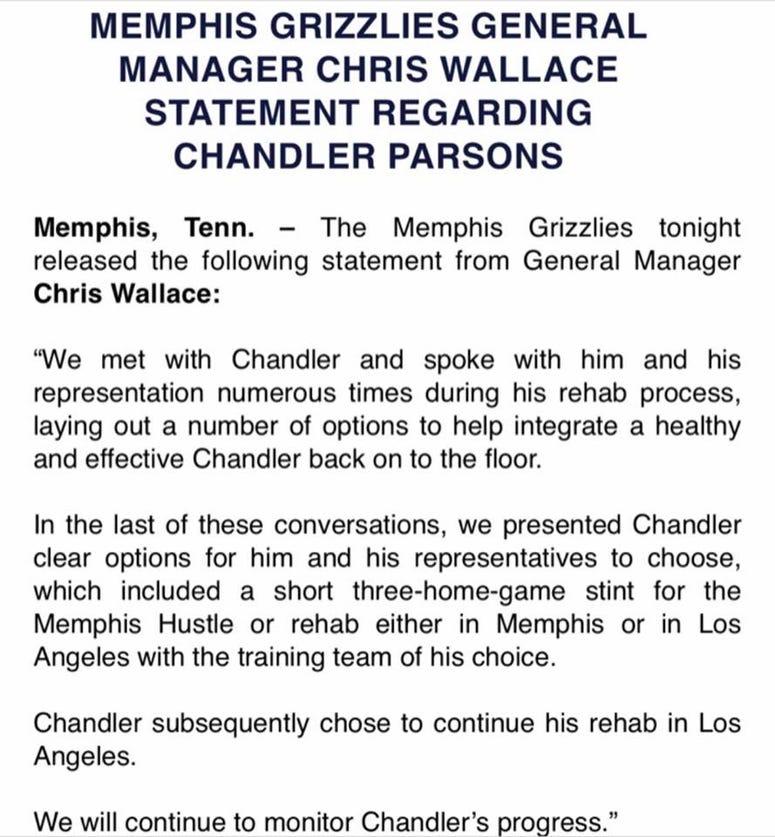 Grizzlies statement on Parsons 1/6/19