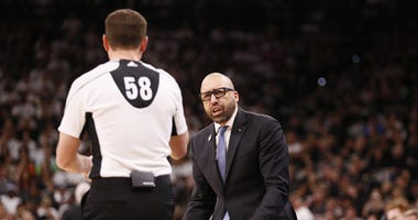 Memphis Grizzlies head coach David Fizdale argues a call with an official against the San Antonio Spurs during the second half in game one of the first round of the 2017 NBA Playoffs at AT&T Center.