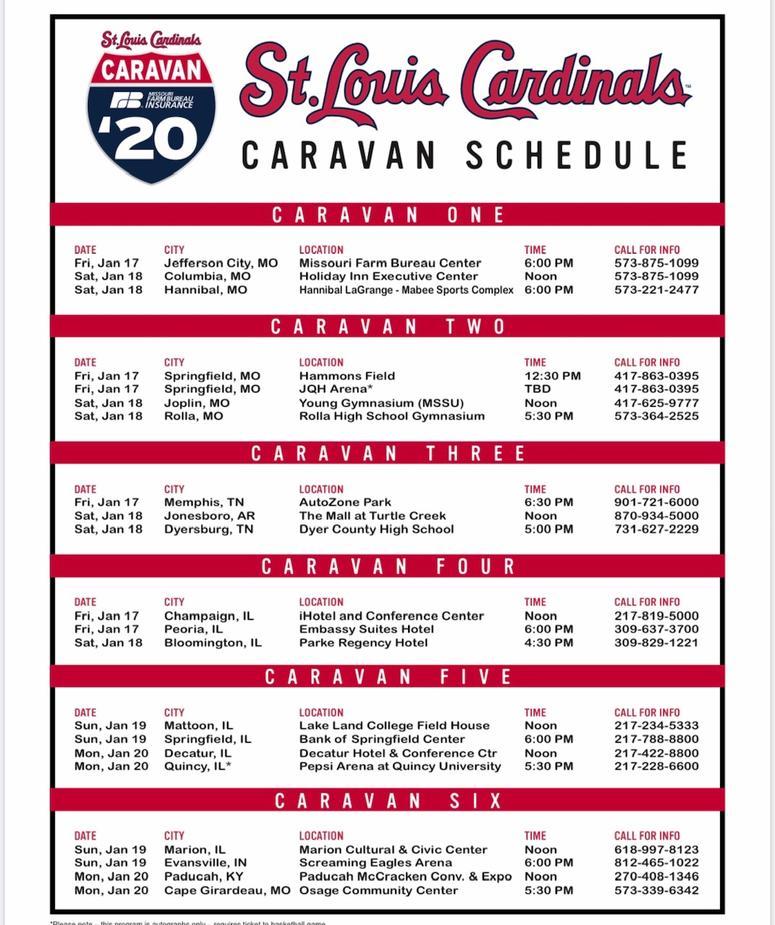 Cardinals Caravan schedule 2020