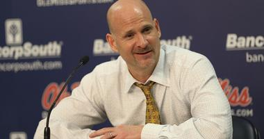 Mississippi Rebels head coach Andy Kennedy in his post game interview after the game against against the Arkansas Razorbacks at The Pavilion at Ole Miss. Arkansas Razorbacks defeat the Mississippi Rebels 75-64.