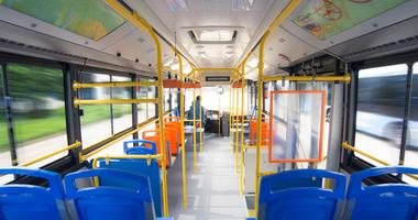 Inside of a transit bus
