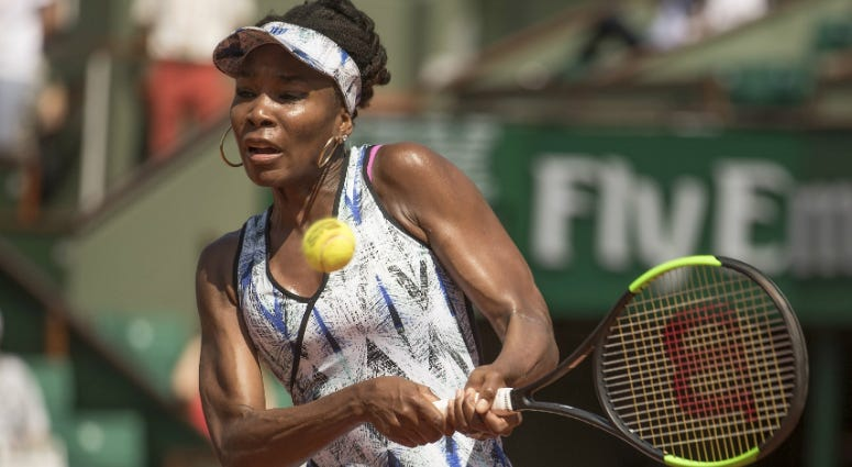 Venus Williams in action during her match against Kurumi Nara on day four of the 2017 French Open tennis tournament at Stade Roland Garros.