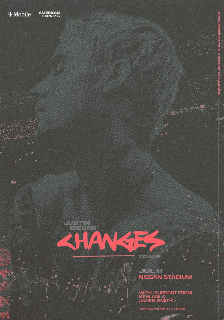 Justin Bieber Changes Tour Art